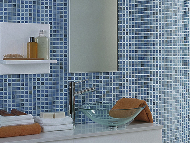 Отделка ванной мозаичной керамической плиткой